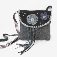 Grey wool leather purse, winter crossbody bag, black sheepskin flap purse, leather fringe cross body