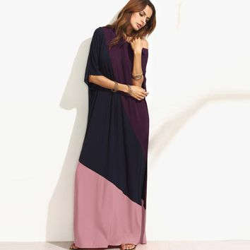 Women Summer Casual Shift Dresses For Ladies Color Patchwork Short Sleeve Side Split Sexy Maxi Dress Plus Size Kaftan Vestidos