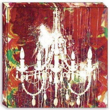 Canvas Edition: White On Red Chandelier