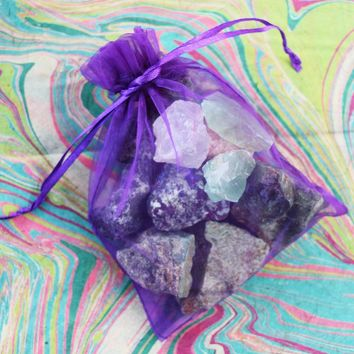 Grab Bag of Raw Untumbled Rough Natural Stones - Add to Your Rock Collection or Make Crystal Grids