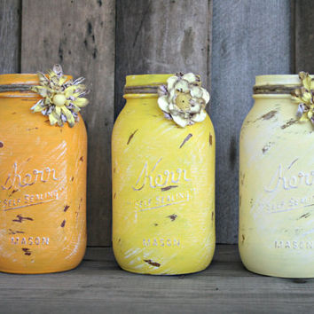 Home and Wedding Decor - Distressed Mason Jar, Vase or Organization - Yellows