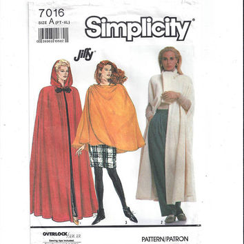 Simplicity 7016 Pattern for Misses' Capes, Size Pt - xL, From 1990, FACTORY FOLDED, UNCUT, Vintage Pattern, Home Sewing Pattern, Jiffy Sew