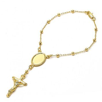 Gold Layered 03.65.1121.1 Bracelet Rosary, Guadalupe Design, Golden Tone