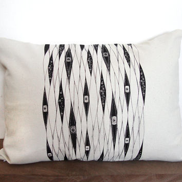 """Hand screen printed home decor throw pillow cover – Ocean eyes diamond pattern cover case - Canvas throw pillow cover - Size 12""""x16"""""""
