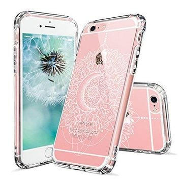 iPhone 6s Case, iPhone 6 Clear Case, MOSNOVO White Moon Henna Mandala Lace Pattern Printed Clear Design Transparent Plastic Back Case with Soft TPU Bumper Cover for Apple iPhone 6 6s (4.7 Inch)