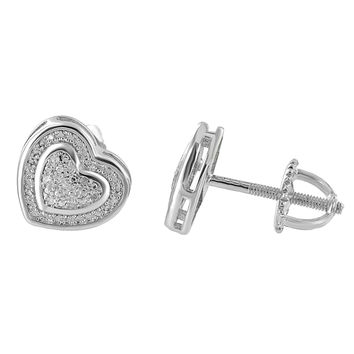 Real Diamond Heart Earrings Womens Sterling 925 Silver Pave Set