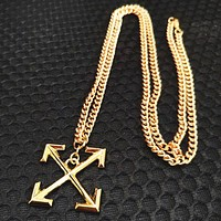 Off White Fashion New Cross Arrow Pendant Women Men Necklace Gold