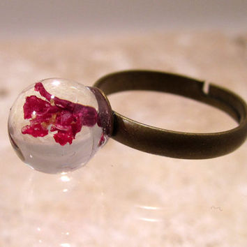 Red Currant Flower Ring, adjustable ring, plant jewelry, flower jewellery
