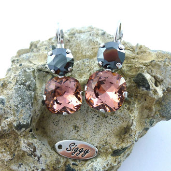 Swarovski crystal Blush Rose and Jet Hematite earrings, 12mm cushion cut/8mm round, double stone, drop earrings, Siggy Jewelry
