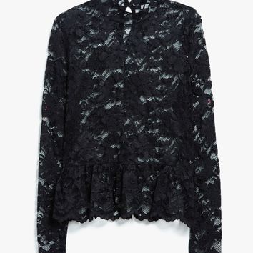 Ganni / Flynn Lace Top in Black