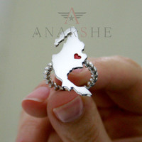 Any state love ring with enameled heart in silver metal Montana State Love Ring Mexico Love ring State ring Silver ring Christmas gift