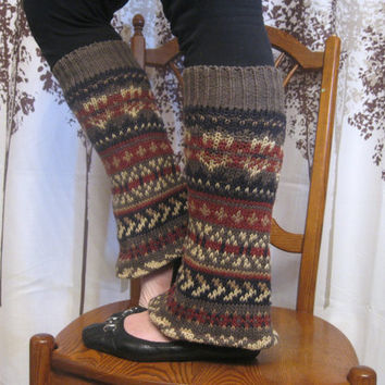 Leg Warmers - Bootcut in Earth Tones Fair Isle : Upcycled Recycled Repurposed Fall Fashion Eco Friendly
