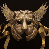 Winged Lion by TheArtOfTheMask on Etsy