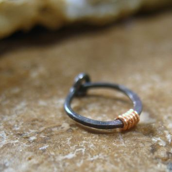 Hoop Earring Niobium with Copper Hammered & Wrapped Single