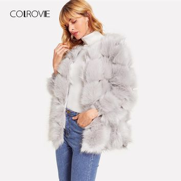COLROVIE Grey Chevron Faux Fur Coat Women Warm Party Winter Coats 2018 Streetwear Open Front Female Long Coat Fashion Outwears