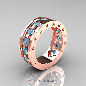 Caravaggio Mens Modern 14K Rose Gold Princess Aquamarine Wedding Band R313M-14RGAQ