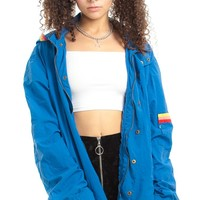 Vintage 90's Rainbow-Trim Cobalt Anorak - One Size Fits Many