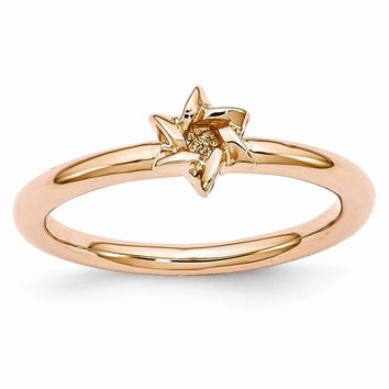 Rose Gold Tone Sterling Silver Stackable 7mm Star of David Ring