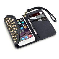 iPhone 6 Case, Terrapin Trendy iPhone 6S Wallet Purse Style Case for iPhone 6 / 6S (Black Studded)