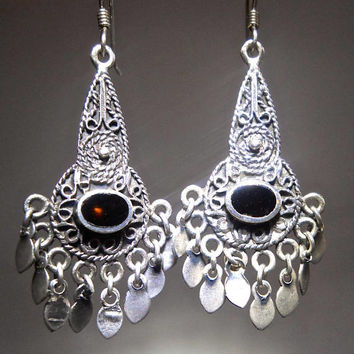 Onyx Sterling Silver Dangle Earrings, Scroll Silverwork, Pierced Vintage