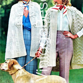 2 CAPES 1970s Vintage KNITTING Patterns 1-Checkerboard Cape easy knit 2-No-Button Cape Irish pattern experts only Instant Pdf Vintage Beso