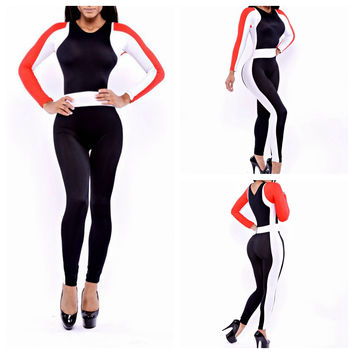 Color Block Long Sleeve Bodycon Jumpsuit