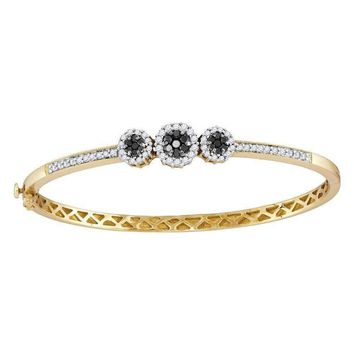 14kt Yellow Gold Women's Round Black Color Enhanced Diamond Triple Cluster Bangle Bracelet 1.00 Cttw - FREE Shipping (US/CAN)