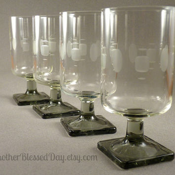 Vintage Nordic Midnight Etched Smokey Gray Federal Stemmed Glasses