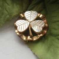 MOP Three Leaf Clover Pin Fluted Brass Goldtone Vintage St. Patrick's Day Shamrock White Pearl Celtic Jewelry Botanical Jewelry Gift 1960s