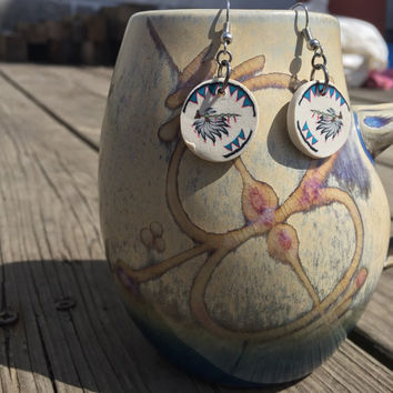 Peace Pipe Polymer Clay Earrings