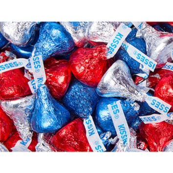 Hershey's Kisses USA Patriotic Foiled Milk Chocolate Candy: 2LB Bag