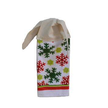 Snowflake Dish Towel, Kitchen Hand Towel, Hanging Towel, Tie on Towel, Towel with Ties, Unisex Gift, Christmas Decor, Christmas Towel, CIJ
