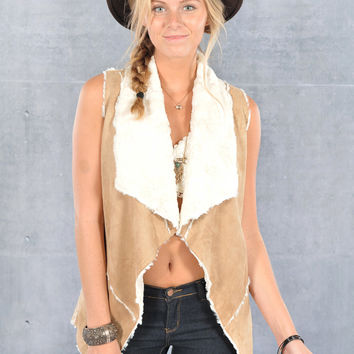 Vegan Faux Suede Open Vest- Faux Fur Lined - Tan