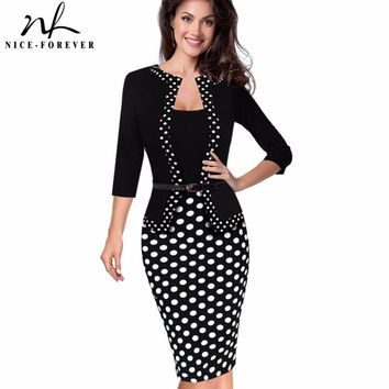 Nice-forever One-piece Faux Jacket Retro Contrast Polka Wear to Work Business vestidos Office Bodycon Women Sheath Dress B407