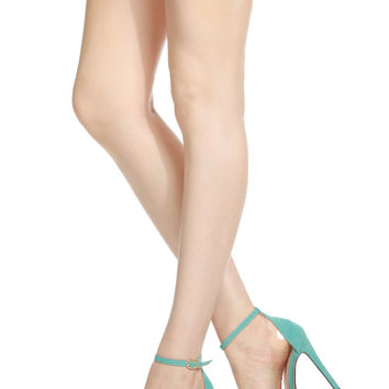 Mint Faux Suede Pointed Toe Ankle Strap Vinyl Heels