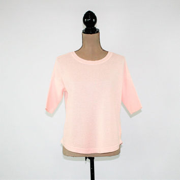 Light Pink Top Women Small Petite Oversized Rayon Cotton Knit Top Lightweight Sweater Spring Summer Banana Republic Womens Clothing