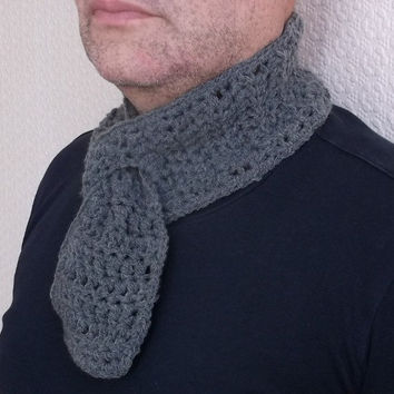 Men Grey Scarf, Handmade, Crochet