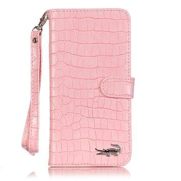 Luxury Crocodile Flip Leather Case For iPhone 5 5S SE 6 6S plus 7 8 Plus X Wallet Card Slots Stand Women Handbag Phone Cover