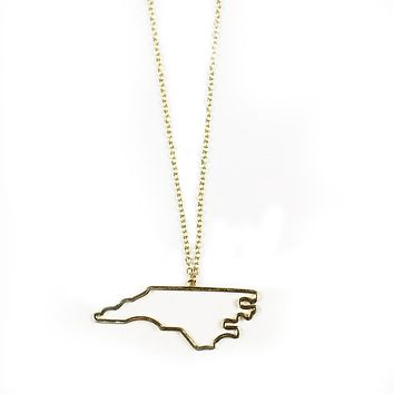North Carolina Silhouette Necklace in Gold by Country Club Prep