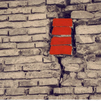 Hand-colored photograph of a brick wall//hand-painted/sepia background/photo art/vintage styled/wall decor/red/home decor /autumn decor