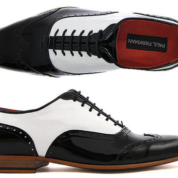 Paul Parkman Men's Dress Shoes Black and White Two Tone Wingtip Oxfords - Patent Leather Upper & Natural Leather Sole