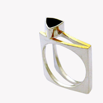 sterling silver with 22k yellow gold accent bezel by aboutjewelry