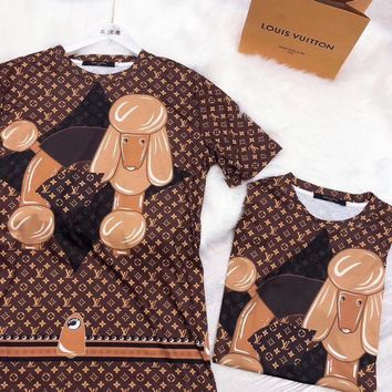"""LOUIS VUITTON"" Women Casual Retro Letter Print Short Sleeve Round Neck Shirt Dress"