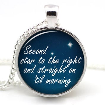 Peter Pan Necklace 'Second Star to the right and straight on 'til morning' Quote Pedant, Tinkerbell Necklace, NeverLand  Peter and Wendy #2