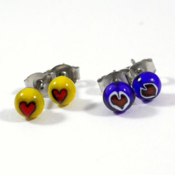Tiny Heart Stud Earrings, Surgical Steel Posts, Fused Glass in Blue Yellow and Red