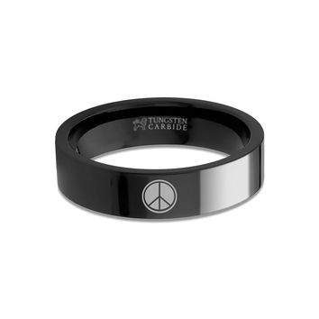 Peace Sign Laser Engraved Black Tungsten Carbide Wedding Band