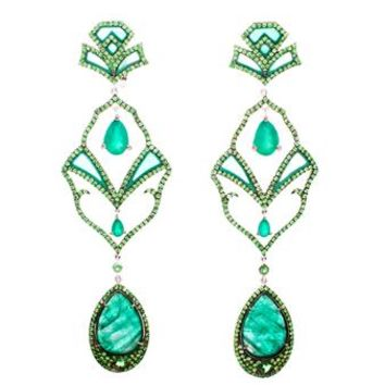 DIONEA ORCINI | 18k White Gold Semiramis Emerald Earrings | Browns fashion & designer clothes & clothing