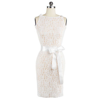 Sexy Lace Dress Sleeveless Backless Pencil Skirt   S