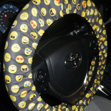 Emoticon Steering Wheel Cover-Emoticon Wheel Cover-Smiley Steering Wheel Cover-Cute Car Accessory-Girly Wheel Cover-Unlined or Lined Cover