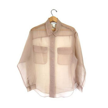 20% Off Sale vintage TOTALLY SHEER blouse. See Through NUDE beige pocket shirt. long sleeve silk top. minimalist button down. Large